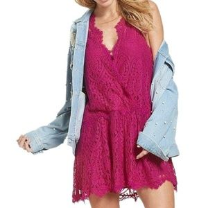 NWT Free People bright orchid lace mini dress S